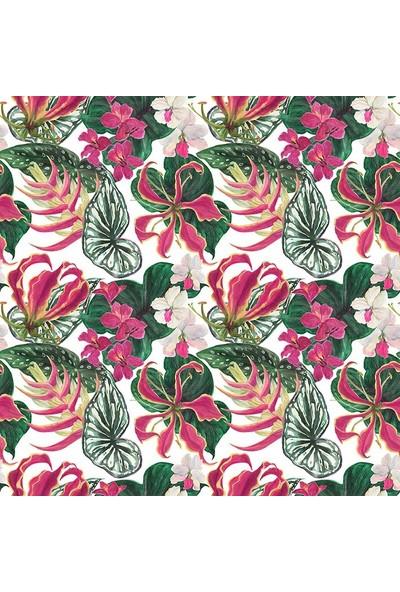 Henge Tropikal Çiçekler Yeşil Yaprak Desenli Duşperdesi