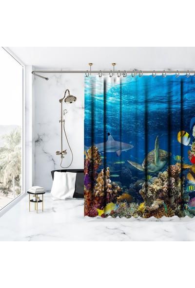 Henge Okyanus Kaplumbağ Deseni Duşperdesi