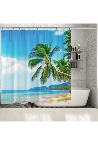 Henge Deniz Palmiye Ağacı Deseni Duşperdesi