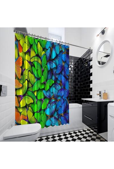 Henge Renkli Kelebek Deseni Mavi Yeşil Sarı Duşperdesi