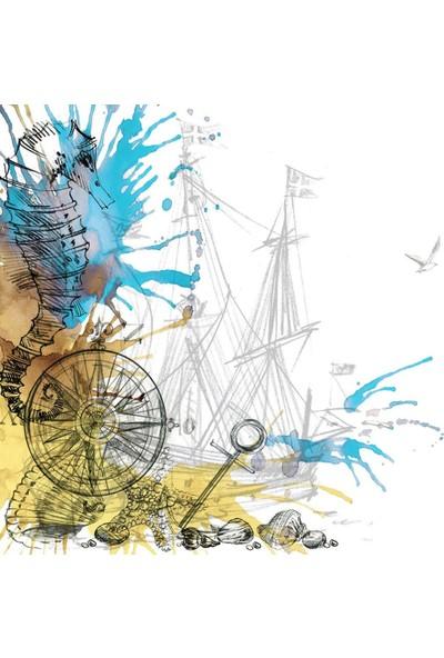 Henge Suluboya Etkili Renkli Deniz Atı Desen Mavi Duşperdesi