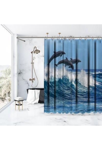 Henge Okyanus Yunus Balığı Deseni Duşperdesi