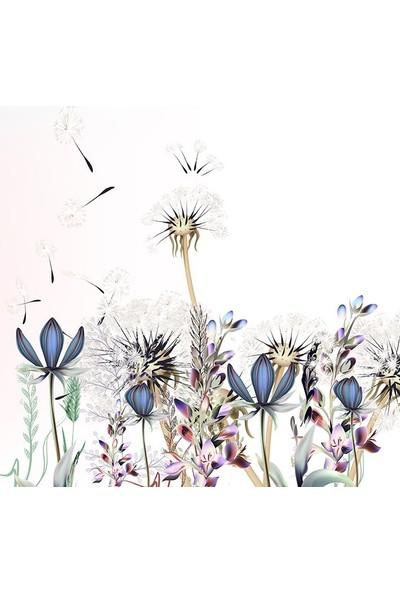 Henge Mor Çiçekli Karahindiba Desenli Duşperdesi
