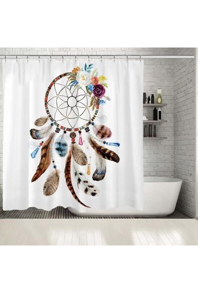 Henge Çiçekli Tüylü Rüya Kapanı Desen Kahverengi Duşperdesi