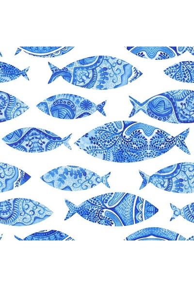 Henge Suluboya Etkili Balık Desenli Turkuaz Duşperdesi