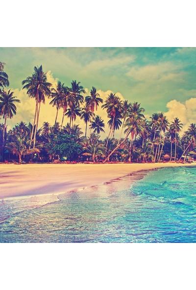 Henge Tropikal Sahil Cennet Doğa Manzara Desenli Duşperdesi