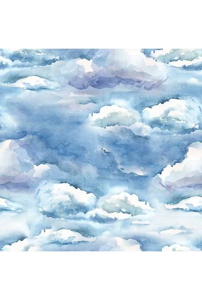Henge Sulu Boya Etkili Bulut Desenli Duşperdesi
