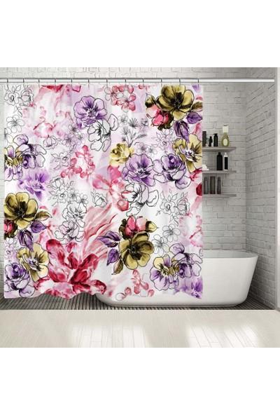 Henge El Boyalı Renkli Çiçek Desenli Duşperdesi