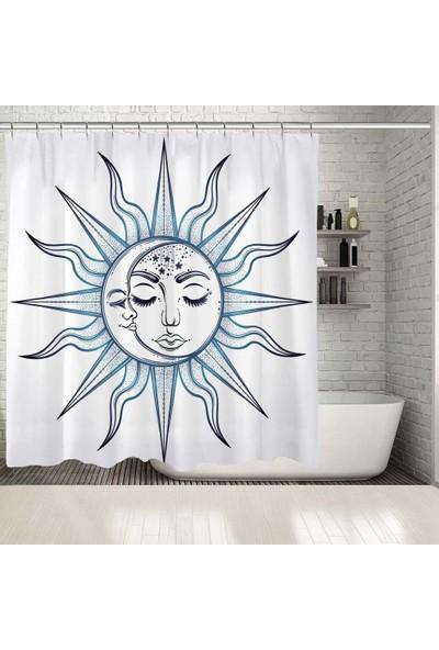 Henge Güneş Ve Ay Görüntü Desenli Mavi Duşperdesi