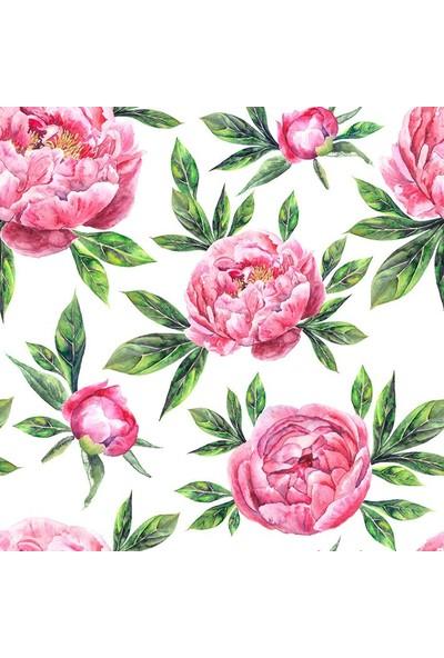 Henge Sulu Boya Etkili Şakayık Çiçek Deseni Pembe Duşperdesi