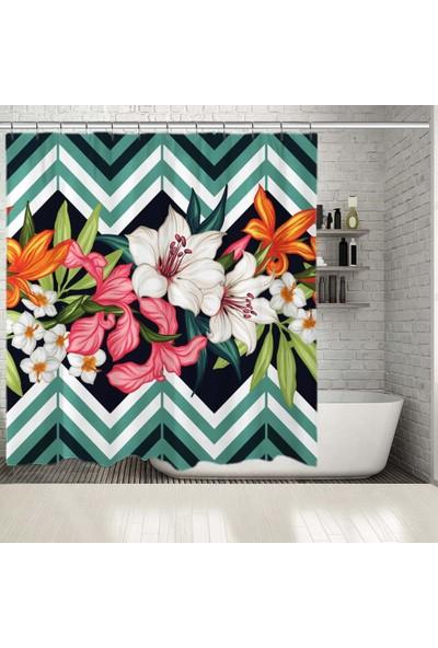 Henge Tropikal Yaprak Çiçek Geometrik Desenli Duşperdesi