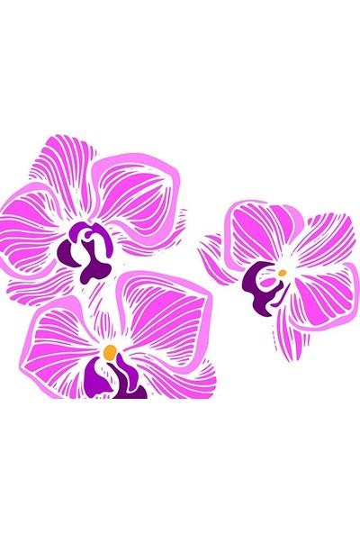 Henge Sulu Boya Etkili Gül Ve Çiçek Desenli Duşperdesi