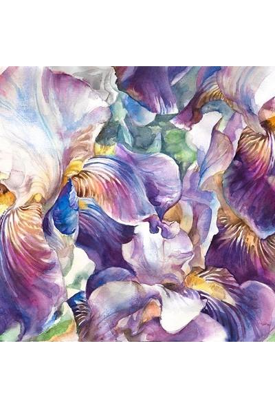 Henge Sulu Boya Etkili Menekşe Çiçek Desenli Mor Duşperdesi