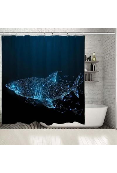 Henge Geometrik Köpek Balığı Işıltılı Nokta Desenli Mavi Duşperdesi