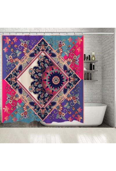 Henge İspanyol Şal Mandala Çiçek Desenli Duşperdesi
