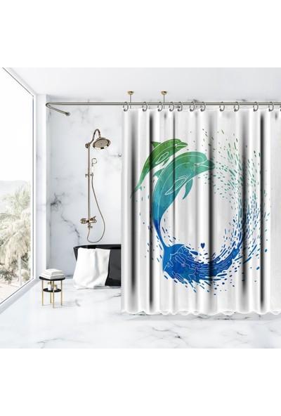 Henge Sulu Boya Etkili Yunus Balık Desenli Duşperdesi