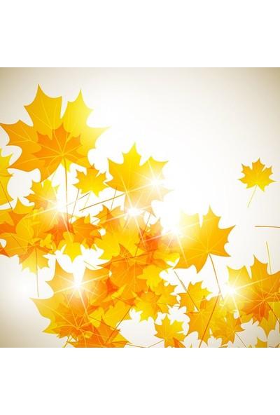 Henge Parıltılı Altın Sonbahar Yaprak Desenli Duşperdesi