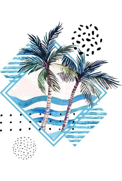 Henge Sulu Boya Etkili Hurma Ağaç Desenli Duşperdesi