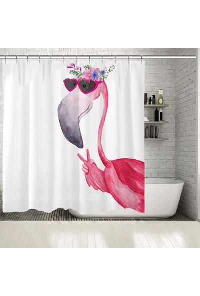 Henge Sulu Boya Etkili Flamingo Desenli Pembe Beyaz Duşperdesi