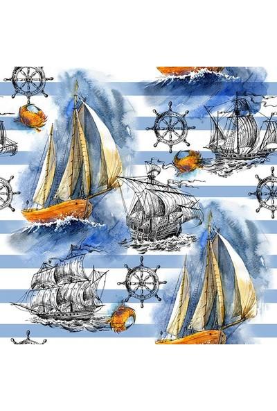 Henge Mavi Çizgiler Gemi Deniz Yaz Desenli Duşperdesi