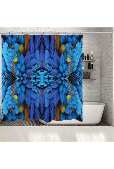 Henge Mavi Ve Sarı Papağan Tüy Desenli Duşperdesi