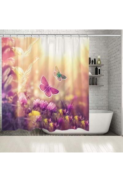 Henge Yonca Çiçekleri Üzerinde Mor Renkli Kelebek Desenli Duşperdesi