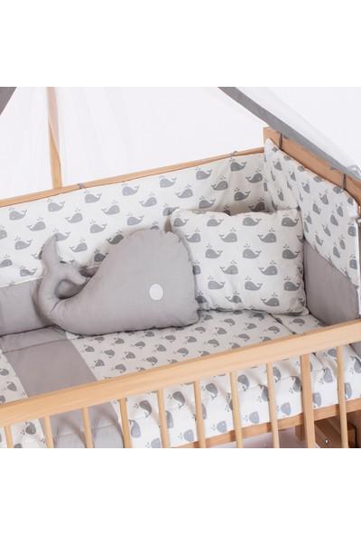 Bamgidoo Ahşap Organik Anne Yanı Kademeli Beşik ve Gri Balina Nevresim Takımı & Yatak 60 x 120 cm