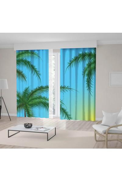 Henge Yeşil Tropikal Ağaç Mavi Gökyüzü Desenli Fon Perde