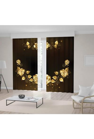 Henge Gül Çiçek Desen Lüks Altın Gold Kahverengi Fon Perde