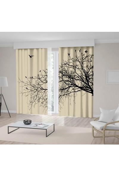 Henge Kuşlu Kavak Ağaç Desenli Siyah Krem Rengi Fon Perde