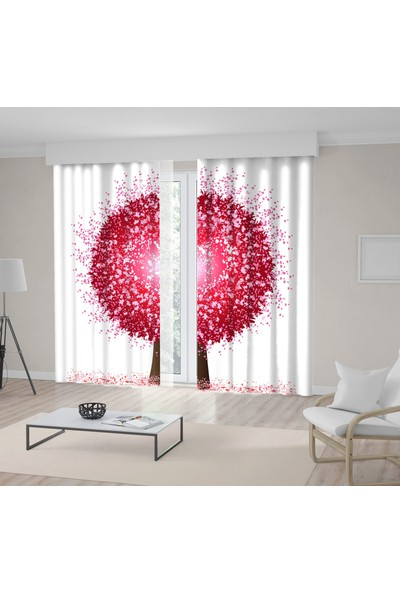 Henge Kalp Ağaç Desenli Kırmızı Pembe Fon Perde