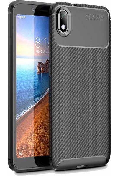 Happyshop Xiaomi Redmi 7A Kılıf Karbon Desenli Lux Negro Silikon + Cam Ekran Koruyucu Siyah