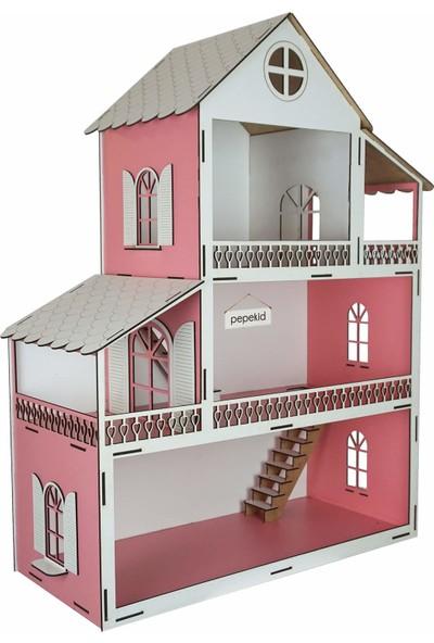 Pepekid Ahşap Oyun Evi Barbie Evi Üç Katlı 32 Parça Mobilyalı Pembe