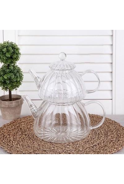 Perotti Cam Çaydanlık Isıya Dayanıklı Orta Boy Cam Çaydanlık Takımı,borosilikat Cam Çaydanlık