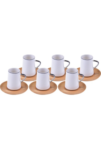 Bambum Cappu Gümüş Yaldızlı Kahve Fincan Takımı 6 Kişilik