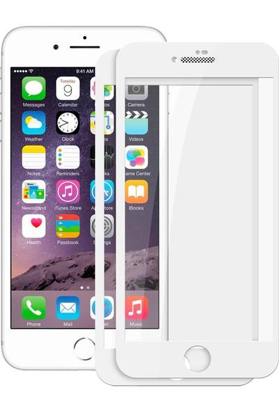 Case 4U Apple iPhone 7-8 Plus Tam Kaplayan Toz Önleyici Cam Ekran Koruyucu Beyaz