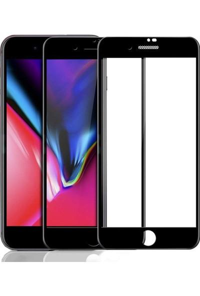 Case 4U Apple iPhone SE 2020 / iPhone 8 / iPhone 7 Tam Kaplayan Toz Önleyici Cam Ekran Koruyucu Siyah