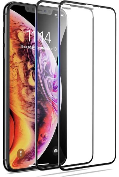 Case 4U Apple iPhone XS Max - iPhone 11 Pro MaxTam Kaplayan Toz Önleyici Cam Ekran Koruyucu Siyah