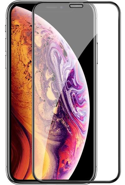Case 4U Apple iPhone XR - iPhone 11 Tam Kaplayan Toz Önleyici Cam Ekran Koruyucu Siyah