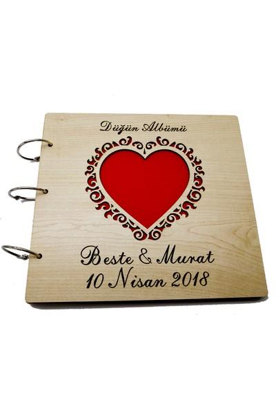 Yedirenk Ahşap İsme Özel Ahşap Fotoğraf Albümü .Büyük Kalp Desenli
