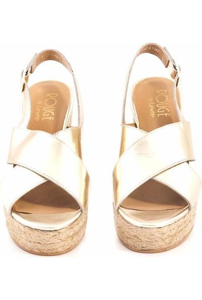 Rouge Deri Dolgu Topuklu Kadın Sandalet Z002