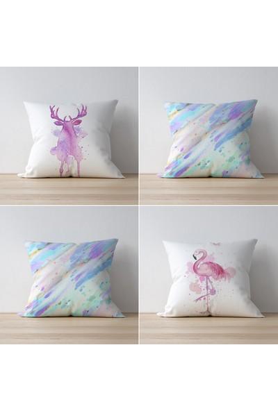 Tezko Tekstil Flamingo Desen Dijital Baskılı 4'lü Kombin Dekoratif Yastık Kırlent Kılıfı