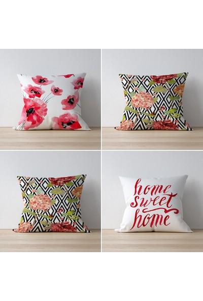 Tezkotekstil Home Sweet Home 4'lü Kombin Dekoratif Yastık Kırlent Kılıfı