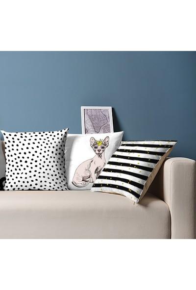 Tezko Tekstil Kedi Desen Dijital Baskılı 3'lü Kombin Dekoratif Yastık Kırlent Kılıfı
