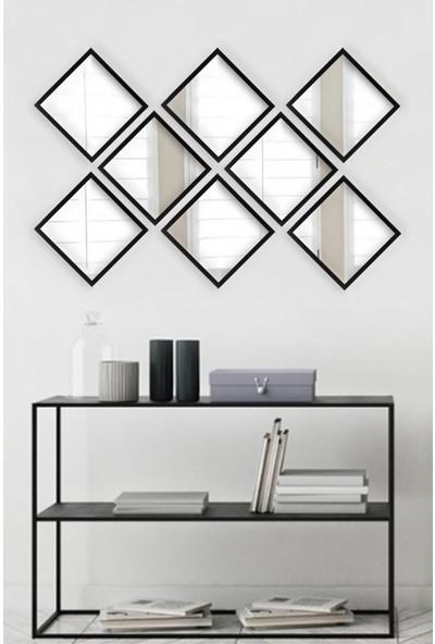 Tablo Center 8 Parçalı Siyah Çerçeveli Ayna 24 cm x 24 cm