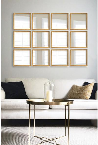 Tablo Center 12 Parçalı Altın Varak Çerçeveli Ayna 24 cm x 24 cm