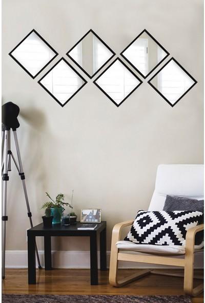 Tablo Center 6 Parçalı Siyah Çerçeveli Ayna 24 cm x 24 cm