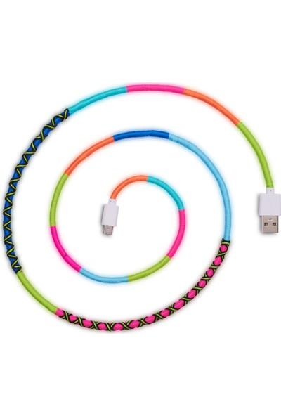 Hippi Melody Micro USB Yüksek Hızlı El Örgüsü Şarj ve Data Kablosu 1 m