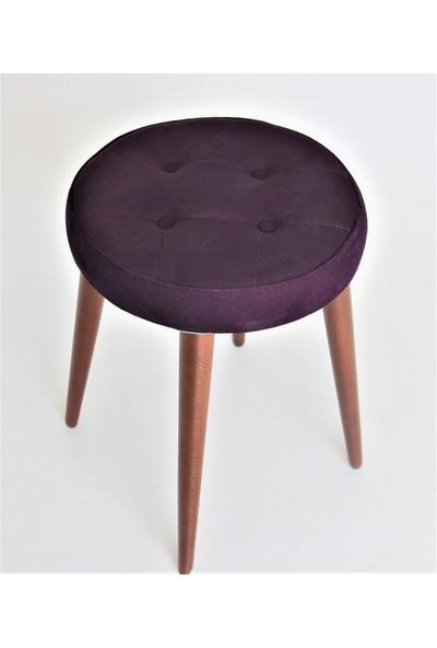 Canisa Concept Tabure - Puf- Makyaj Sandalyesi - Çok Rahat Oturum Alanlı -Ahşap Ayaklı