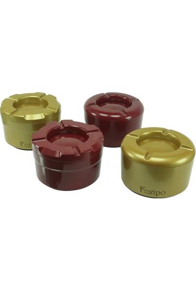 Foxipo Döner Kül Tablası - Bordo Rengi Köşeli Model